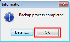Backup process completed