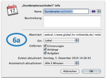 Dialog in iCal
